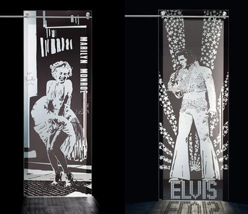 стеклянные межкомнатные двери с изображениями кумиров
