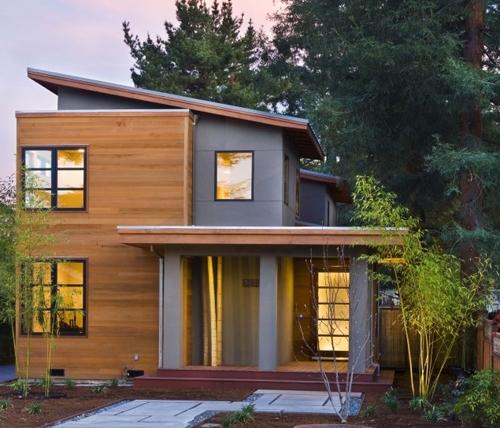 комбинированный дизайн фасадов коттеджей 2