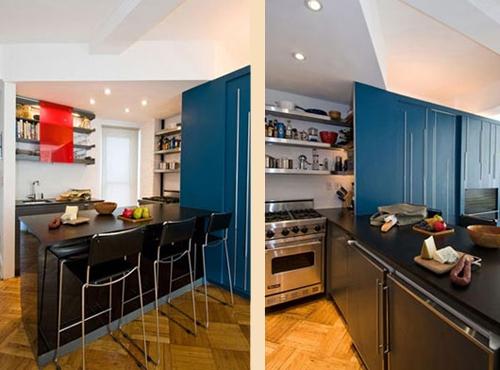 зона кухни в квартире студии