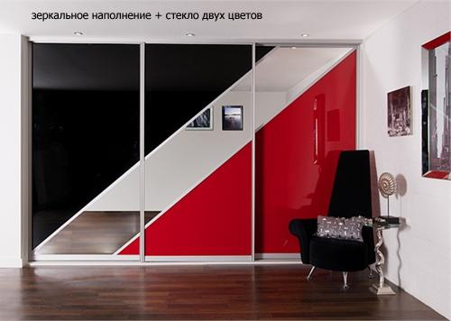 двери шкафа купе с зеркальными вставками 1