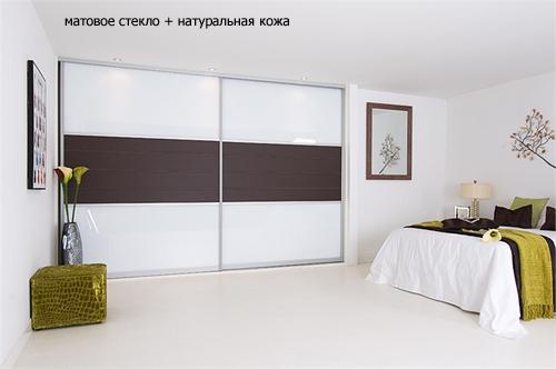 комбинированная дверь с натуральной кожей