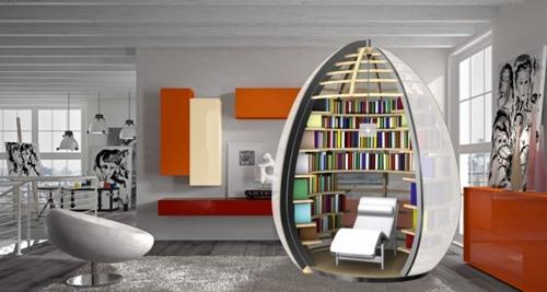 универсальная комната в виде библиотеки