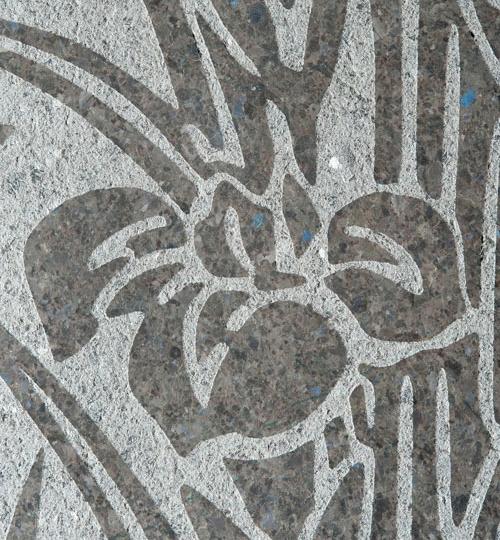 растительный узор на мраморной облицовочной плитке
