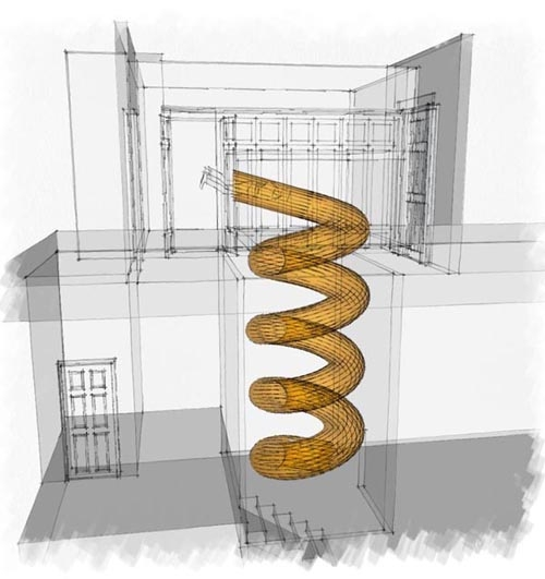 спиральный спуск из детской комнаты