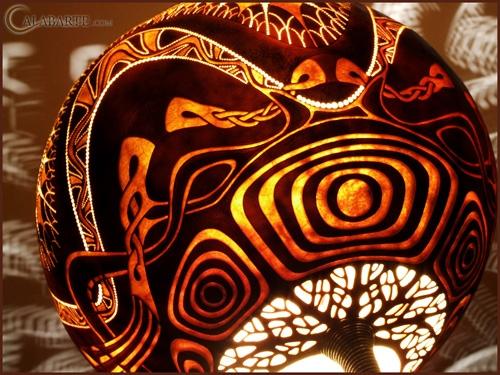 светящийся абажур декоративной настольной лампы