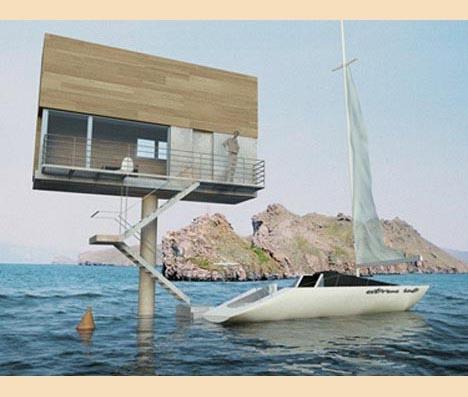 модульный дом в океане