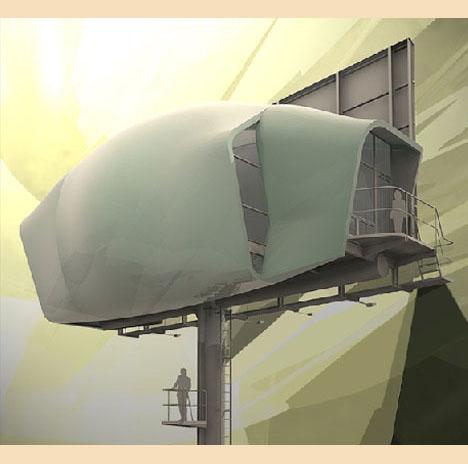 модульный дом с обратной стороны билборда