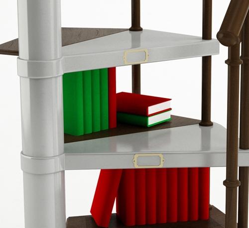 винтовая лестница с полками для книг
