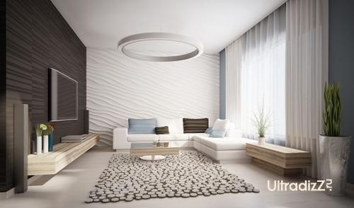 асимметричная расстановка мебели в гостиной