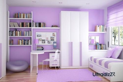 асимметричная расстановка мебели в детской