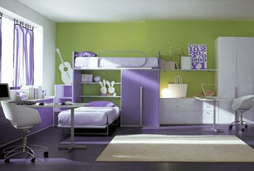 сиреневый и зеленый в дизайне детских комнат