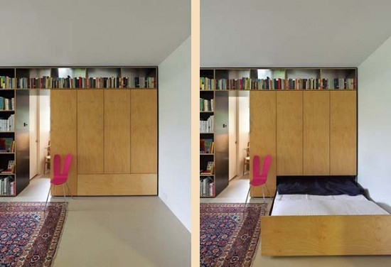 выдвижная кровать в интерьере маленькой квартиры