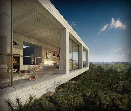 монолитный дом с панорамным видом на окрестности