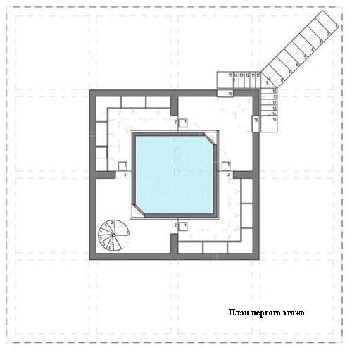 план первого этажа монолитного летнего дома