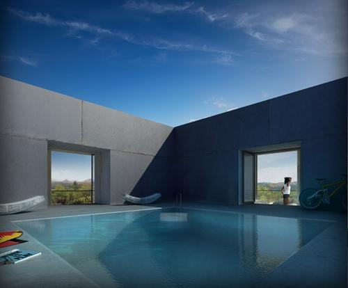 бассейн в центре монолитного дома