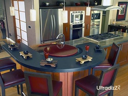 кухонный остров с оригинальной барной стойкой