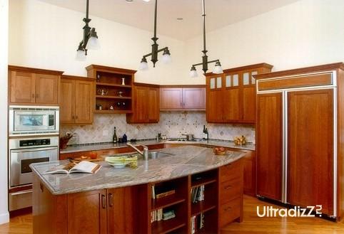 кухонный остров в интерьере с открытой планировкой