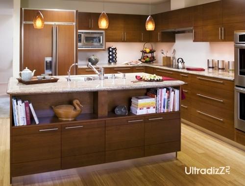 кухонный остров с полками для зоны гостиной