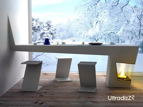 необычный стол со встроенным камином