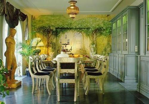 художественная роспись стены в столовой