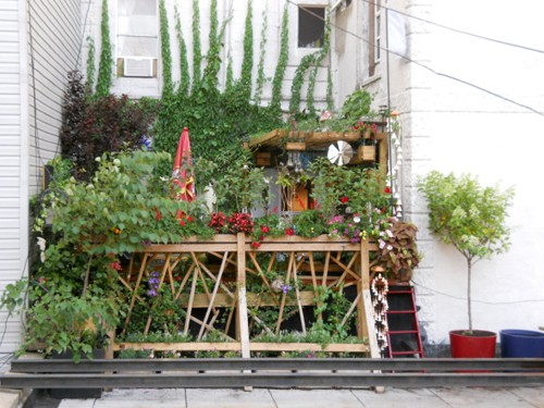 цветущий сад на крыше дома