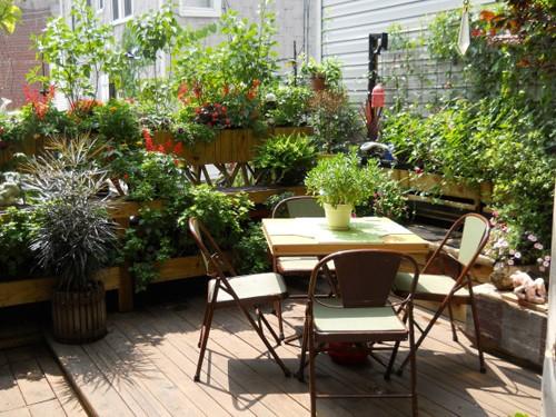 мебель в саду на крыше