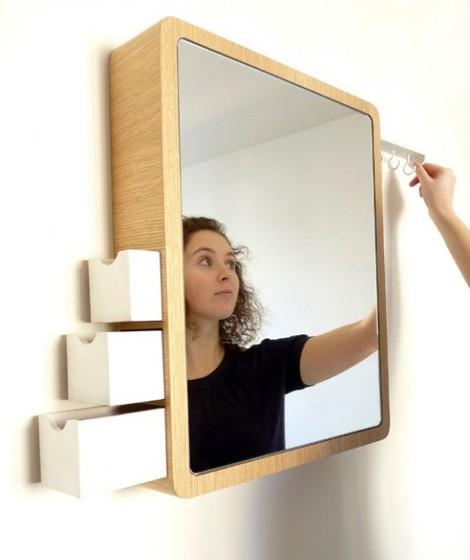 зеркало с выдвижными ящиками для бижутерии