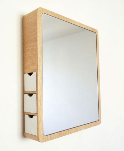 зеркало для ванной с ящичками для бижутерии