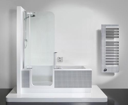 дизайн ванны с душевой панелью