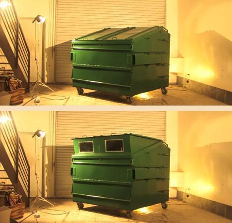 внешний вид дома из мусорного контейнера