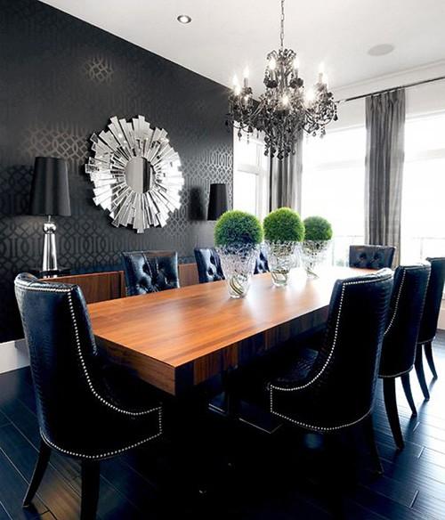темно-синий цвет в черном интерьере