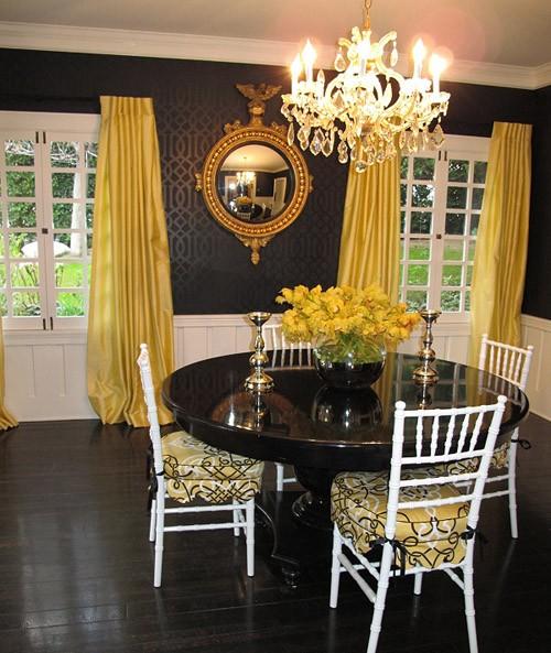 сочетание желтого и черного в интерьере
