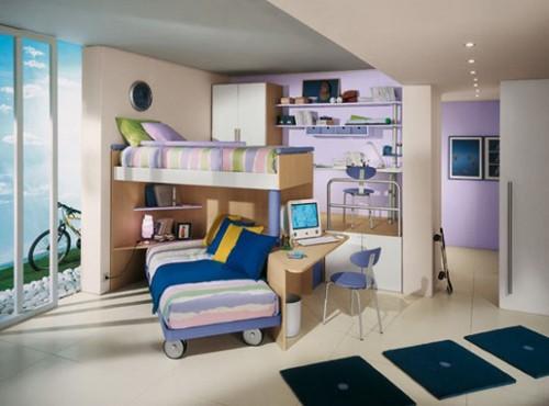 необычная мебель для детской для двоих