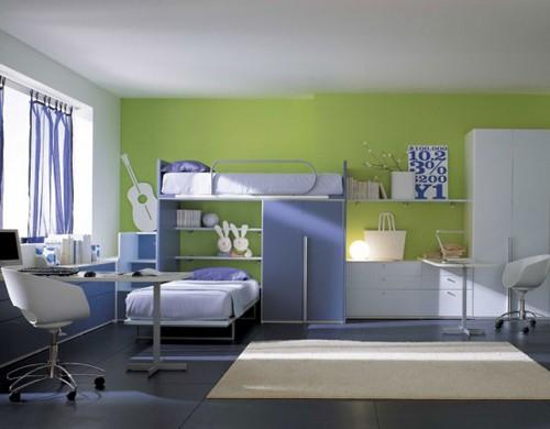 дизайн интерьера детской с двумя рабочими столами