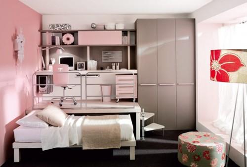 розовые стены и мебель в интерьере для девочки