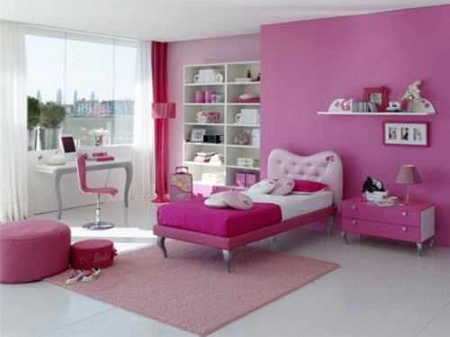 оттенки розового в комнате девочки тинэйджера