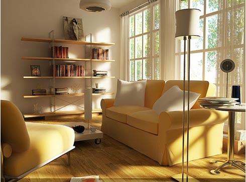 желтый цвет в современной гостиной
