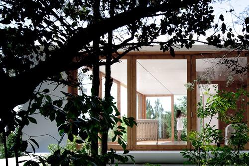 модульный дачный дом со стороны сада