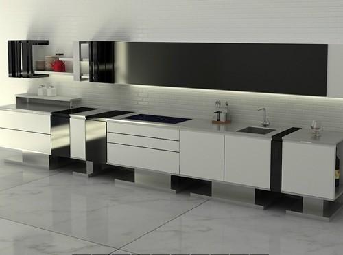 линейная минималистичная кухня