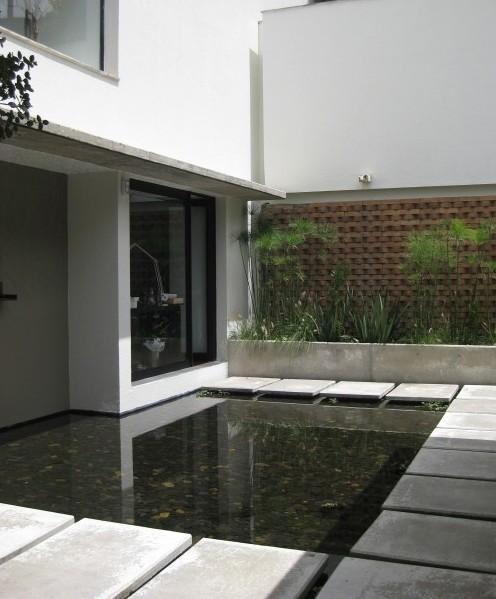 искусственный пруд у стены дома