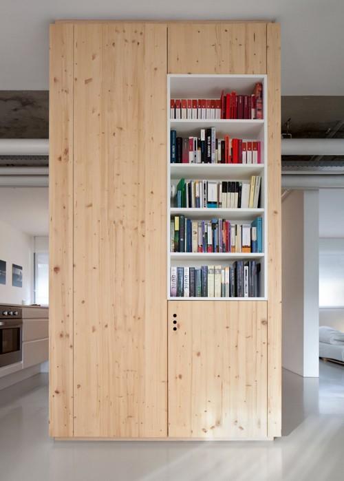 встроенный шкаф с книжными полками