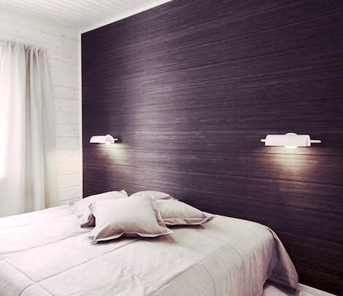 использование ламината в изголовье кровати