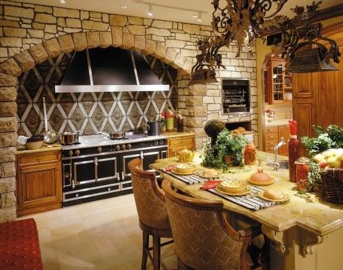 каменная облицовка кухни