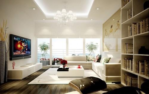 гостиная с белыми стенами