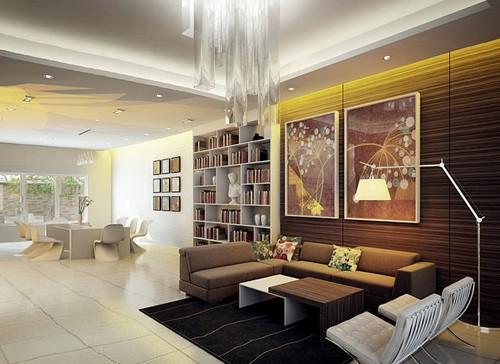 современная гостиная и столовая