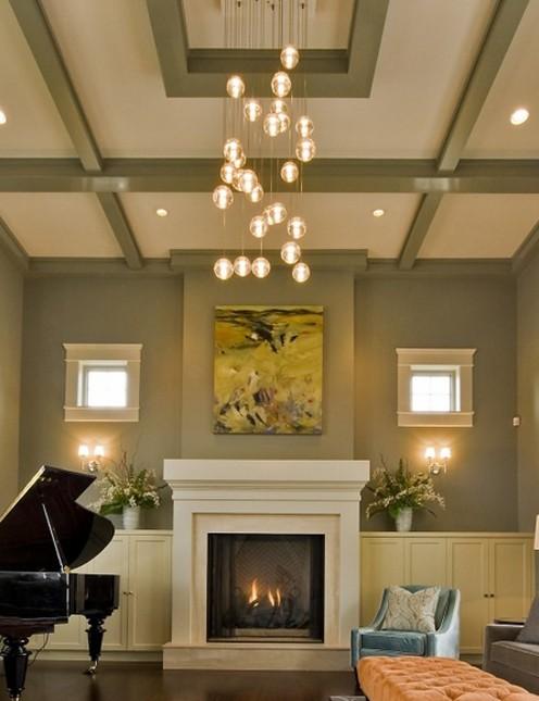 контрастные балки в дизайне потолка