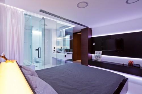 спальня с примыкающей ванной
