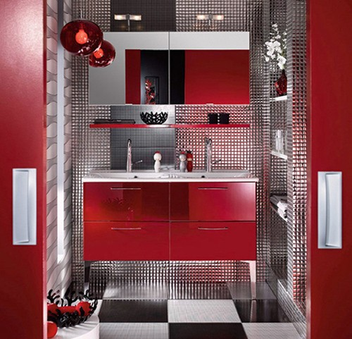 сочетание фактур в современной ванной комнате