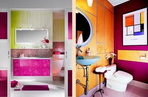 многоцветные ванные комнаты