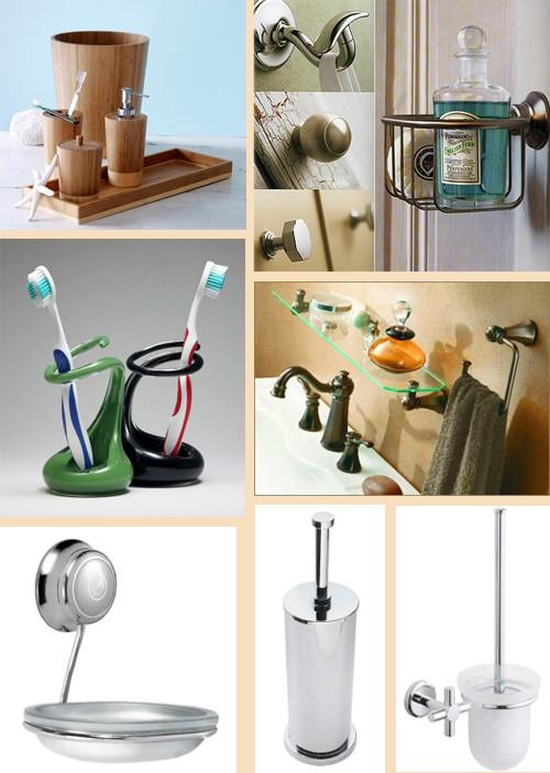 аксессуары для ванной в разных стилях